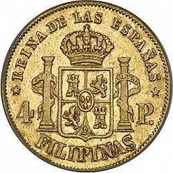 Large Reverse for 4 Pesos 1864 coin