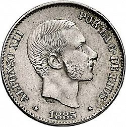 Large Obverse for 50 Centavos Peso 1883 coin