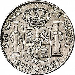 Large Reverse for 50 Centavos Peso 1883 coin