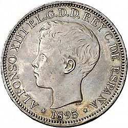 Large Obverse for 1 Peso 1895 coin