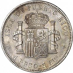 Large Reverse for 1 Peso 1895 coin