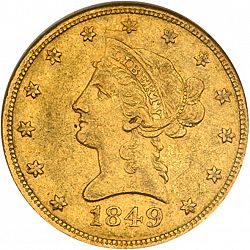 10 dollar 1849 Large Obverse coin