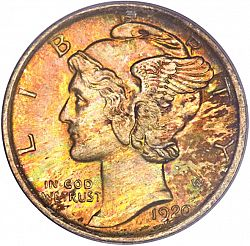 dime 1920 Large Obverse coin