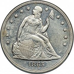 1 Dollar From Year 1865 United States Seated Liberty