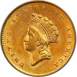 1 dollar - Gold 1855 Large Obverse coin