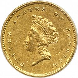 1 dollar - Gold 1856 Large Obverse coin