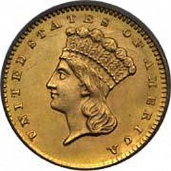 1 dollar - Gold 1860 Large Obverse coin