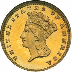 1 dollar - Gold 1885 Large Obverse coin