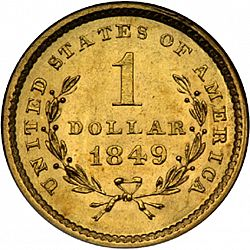 1 dollar - Gold 1849 Large Reverse coin