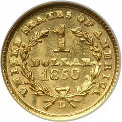 1 dollar - Gold 1850 Large Reverse coin