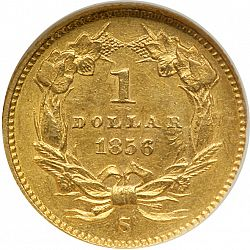 1 dollar - Gold 1856 Large Reverse coin