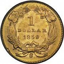 1 dollar - Gold 1859 Large Reverse coin