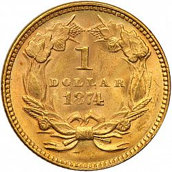 1 dollar - Gold 1874 Large Reverse coin