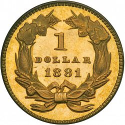 1 dollar - Gold 1881 Large Reverse coin