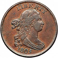 1/2 cent 1805 Large Obverse coin