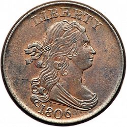 1/2 cent 1806 Large Obverse coin