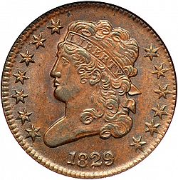 1/2 cent 1829 Large Obverse coin