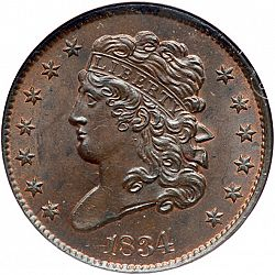 1/2 cent 1834 Large Obverse coin