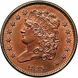 1/2 cent 1835 Large Obverse coin