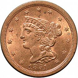 1/2 cent 1851 Large Obverse coin