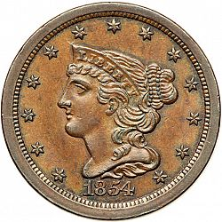 1/2 cent 1854 Large Obverse coin