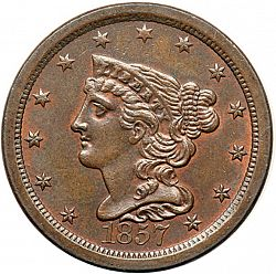 1/2 cent 1857 Large Obverse coin
