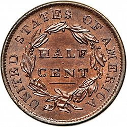 1/2 cent 1835 Large Reverse coin