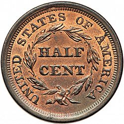 1/2 cent 1856 Large Reverse coin