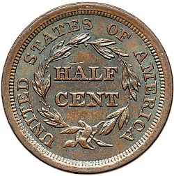 1/2 cent 1857 Large Reverse coin