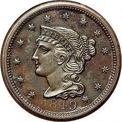 1 cent 1849 Large Obverse coin