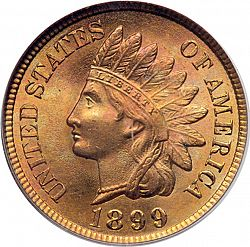 1 Cent 1899 Large Obverse Coin