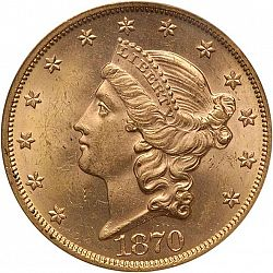 20 dollar 1870 Large Obverse coin