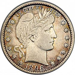 quarter 1896 Large Obverse coin