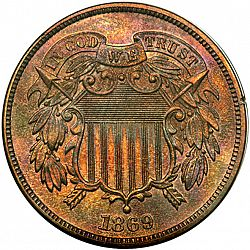 2 cent 1869 Large Obverse coin
