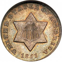 3 cent 1851 Large Obverse coin