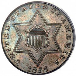 3 cent 1855 Large Obverse coin