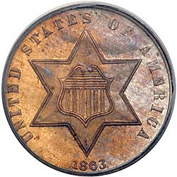 3 cent 1863 Large Obverse coin