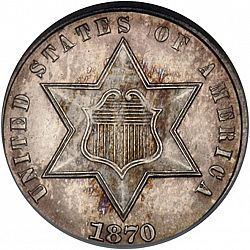 3 cent 1870 Large Obverse coin