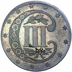 3 cent 1855 Large Reverse coin
