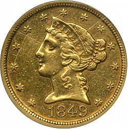 5 dollar 1849 Large Obverse coin