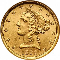 5 dollar 1899 Large Obverse coin