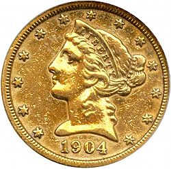 5 dollar 1904 Large Obverse coin