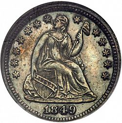 nickel 1849 Large Obverse coin