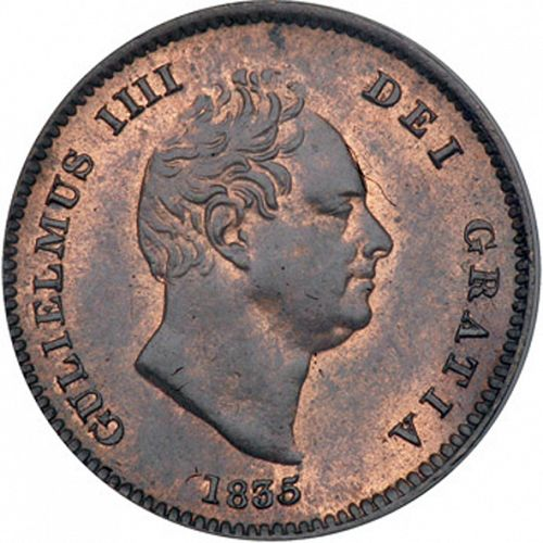 Third Farthing Obverse Image minted in UNITED KINGDOM in 1835 (1830-37 - William IV)  - The Coin Database