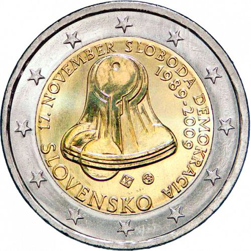 2 € Obverse Image minted in SLOVAKIA in 2009 (20th anniversary of 17 November 1989)  - The Coin Database