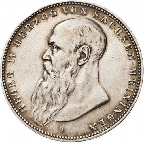 5 Mark Obverse Image minted in GERMANY in 1902D (1871-18 - Empire SAXE-MEININGEN)  - The Coin Database