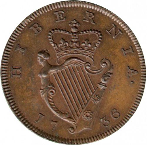 Halfpenny Reverse Image minted in IRELAND in 1736 (1727-60 - George II)  - The Coin Database