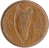 1/4d - Farthing Obverse Image minted in IRELAND in 1930 (1921-37 - Irish Free State)  - The Coin Database