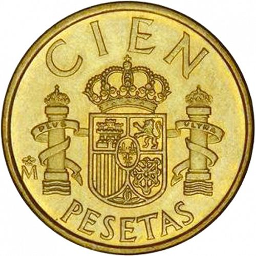 100 Pesetas Reverse Image minted in SPAIN in 1983 (1982-01  -  JUAN CARLOS I - New Design)  - The Coin Database