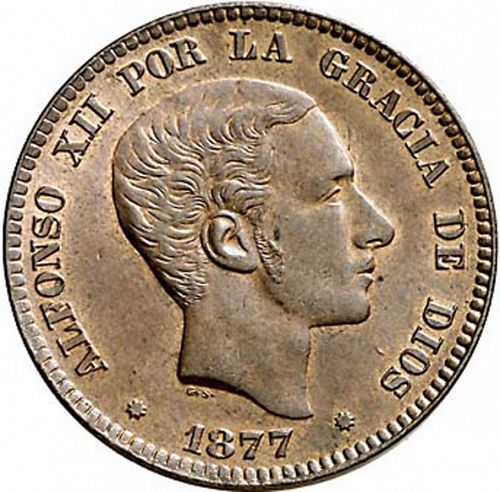 10 Céntimos Obverse Image minted in SPAIN in 1877OM (1874-85  -  ALFONSO XII)  - The Coin Database